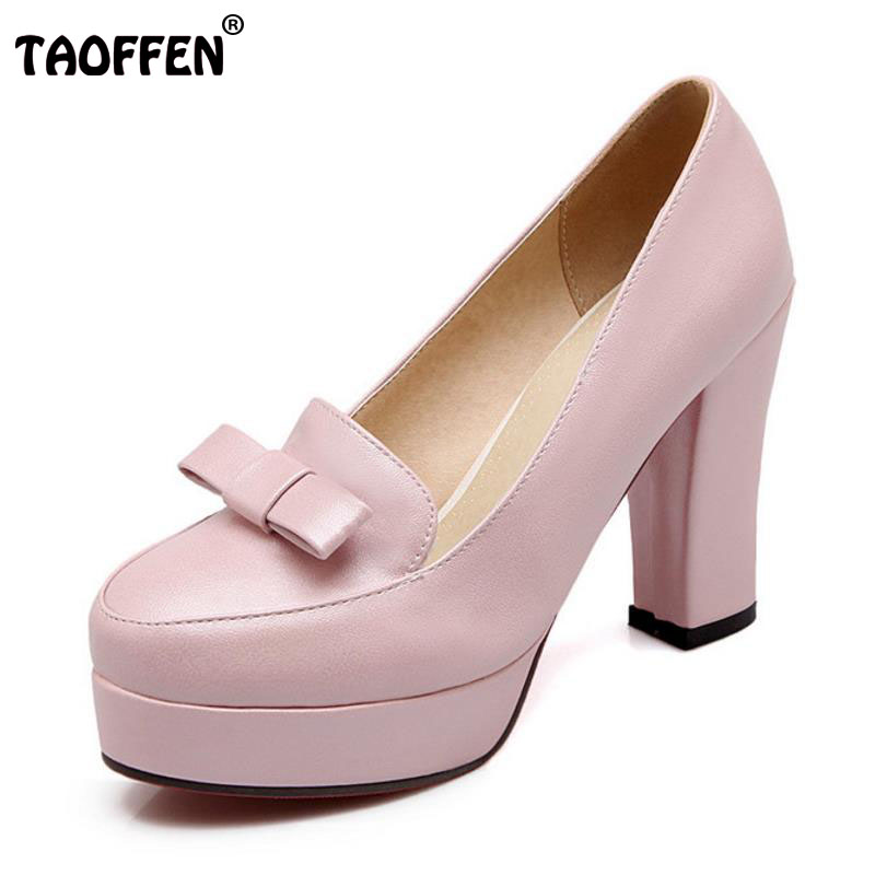 TAOFFEN Size 33-43 Sexy Women High Heel Shoes Platform Bowtie Round Toe Thick Heels Pumps Party Dating Office Ladies Footwears amourplato women s ladies handmade fashion big large size thick block heel closed toe high heel party office pumps chunky shoes