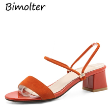 Купить с кэшбэком Bimolter 2018 New Hot Sale Super Big Size 31-52 Square Heel Women Summer Sandals And Slipper Comfortable Concise Sandals PSEA007