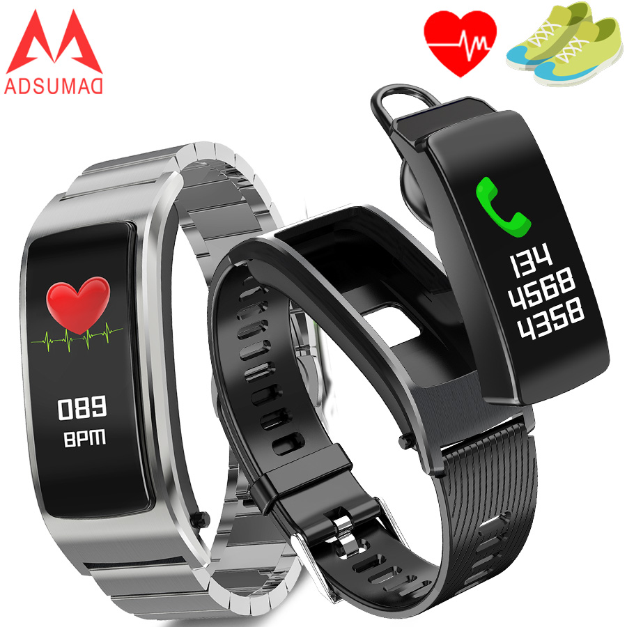 US $45 6 |F5 Smart band Bluetooth earphone bracelet health management heart  rate monitor Amoled big Color screen-in Smart Wristbands from Consumer