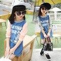 Девушки джинсовые длинные Футболки двойные цвета шить новое прибытие футболки Дети все матч удлинить Корейский футболки в Полоску воротник топы
