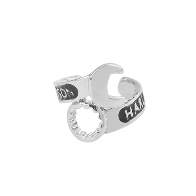 Steel Mens Spanner Ring Chunky Silver Black Silver Mechanic Wrench