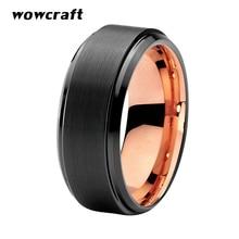 8mm Black Rose Gold Ring Women Men Tungsten Wedding Band Matte Finish Engagement Ring Gift Tungsten Wedding Jewelry Comfort Fit цены онлайн