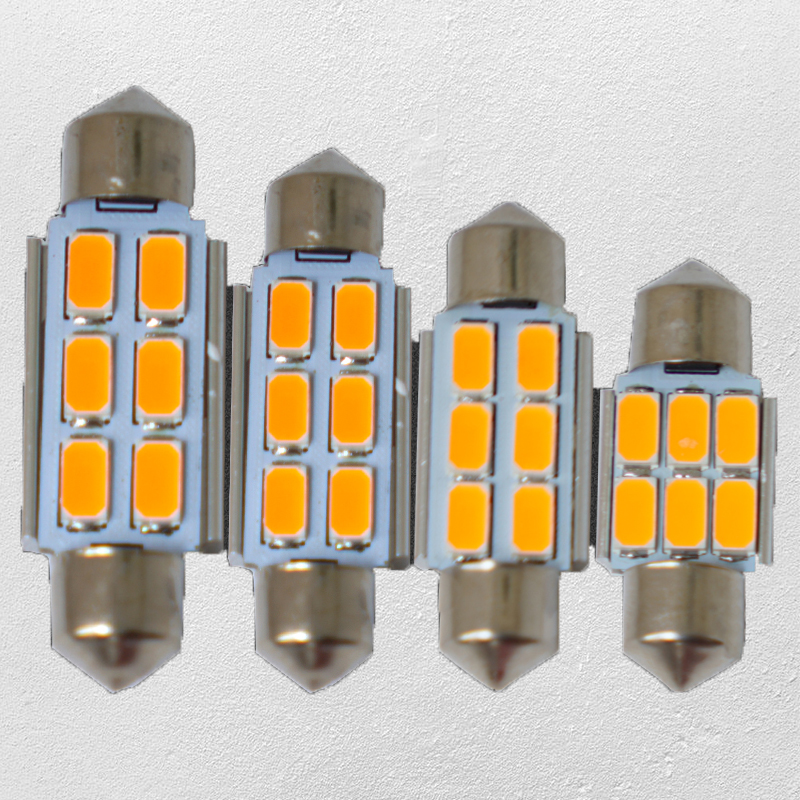Gold yellow Wholesale 20pcs CANBUS 6SMD 5730 31MM/36MM/39MM/41MM 12V C5W LED boot /courtesy,luggage box/ license plate lamp