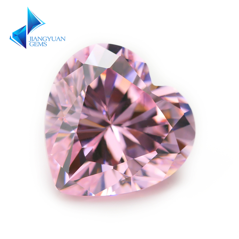 3x3~12x12mm Heart Shape 5A Pink Color Cubic Zirconia Stone Size Synthetic Gems Beads Crystal Stone For Jewelry