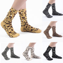 Fashion harajuku socks Women Ladies Warm Leopard Socks Mid Tube Ins-Style Vintage Pearl funny socks calcetines mujer(China)