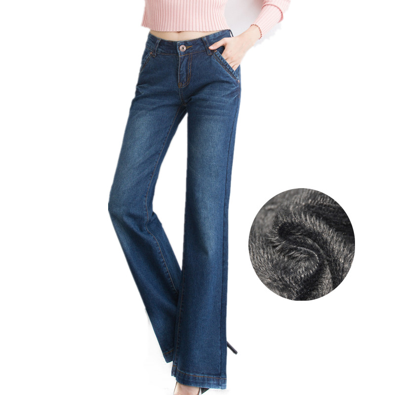 2018 Winter Warm Thicken Fleece Flare Jeans for Woman Mid Waist Blue Wide Leg Velvet Long Pants Vintage Trousers  Femme Pantalon