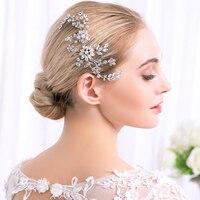 Wedding Accessories Bridal Pearl Hairpins Silver Flower Crystal Rhinestone Diamante Hair Clip Gift Bridesmaid Women Hair