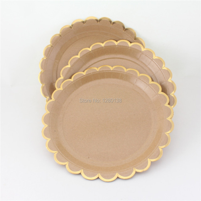 120pcs Kraft Brown Paper Dinner Plates Gold Wedding Snack Plates Engagement Halloween Party Decorations Christmas Supplies & 120pcs Kraft Brown Paper Dinner Plates Gold Wedding Snack Plates ...