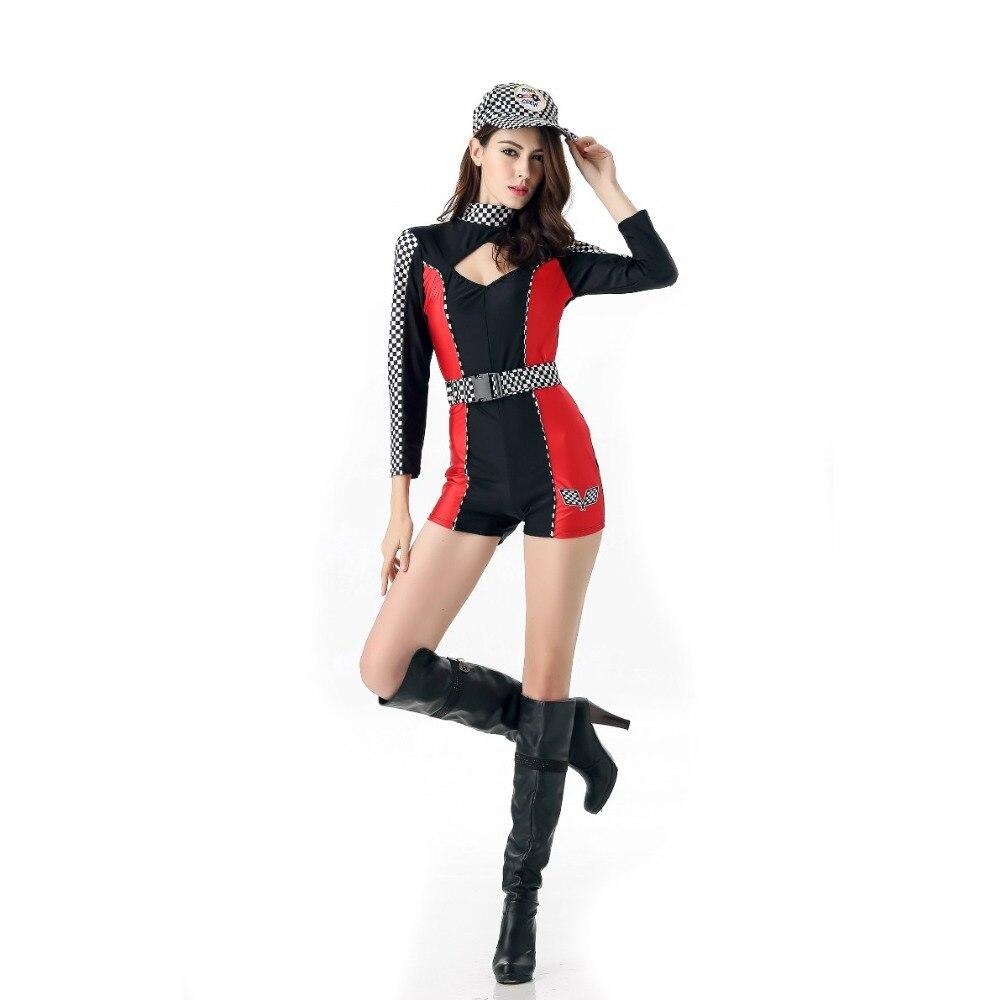 Cool Women Jumpsuits Halloween Masquerade Cosplay Costume Racing Driver School Sports Women Clothing Set
