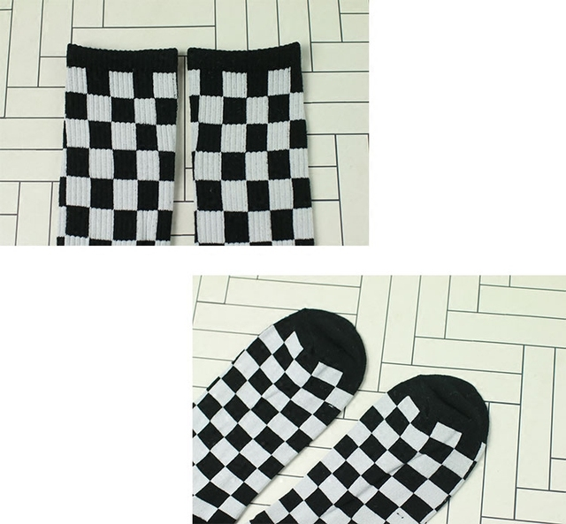 unisex Street skateboard striped socks Harajuku Meias fashion Plaid Hip-hop street dance skateboard stockings  Mens Women Socks