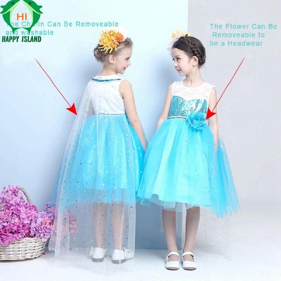 Girls Dress Three layers of gauze Princess Elsa Dress Costumes ...