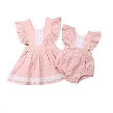 Одинаковая одежда для сестры милое летнее кружевное платье без рукавов для сестер и сестры Детский комбинезон Комплекты Одежда