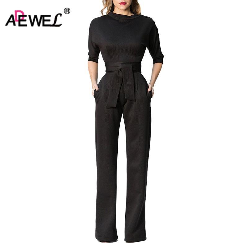 ADEWEL Elegant Slanted Shoulder Women Long Jumpsuit Party Wear Vintage High Waist Wide Leg Maxi Romper Overalls