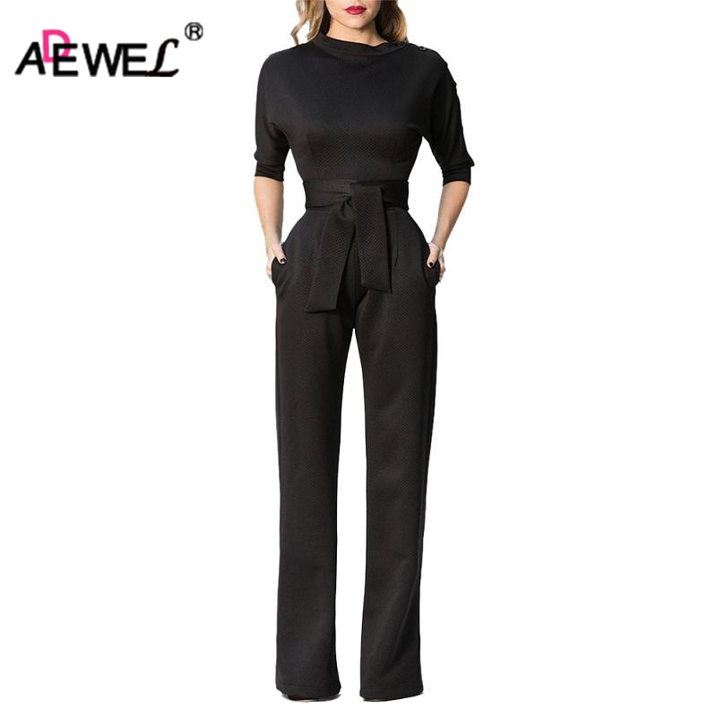 ADEWEL Elegant Slanted Shoulder Women Long Jumpsuit Party Wear Vintage High Waist Wide Leg Maxi Romper Overalls ...