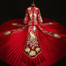 Add Rhinestone Suzhou Embrpidery Qipao Women Bride Wedding Dress Exquisite Classic Ancient Marriage Suit Long Vintage Button