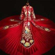 Dodać Rhinestone Suzhou (jiangsu) Embrpidery Qipao Qipao kobiety suknia ślubna dla panny młodej wykwintne klasyczny starożytny małżeństwa garnitur z długim rocznika przycisk
