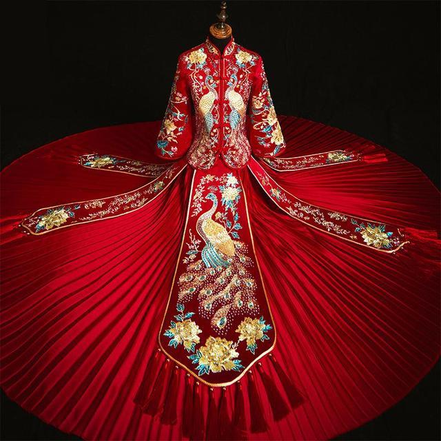 Voeg Strass Suzhou Embrpidery Qipao Vrouwen Bruid Trouwjurk Prachtige Klassieke Oude Huwelijk Pak Lange Vintage Knop