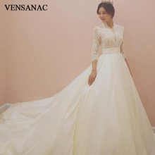 VENSANAC 2018 Pearls High Neck Pleat Sash Court Train Ball Gown Wedding Dresses Lace Illusion Sleeve Satin Bridal Gowns