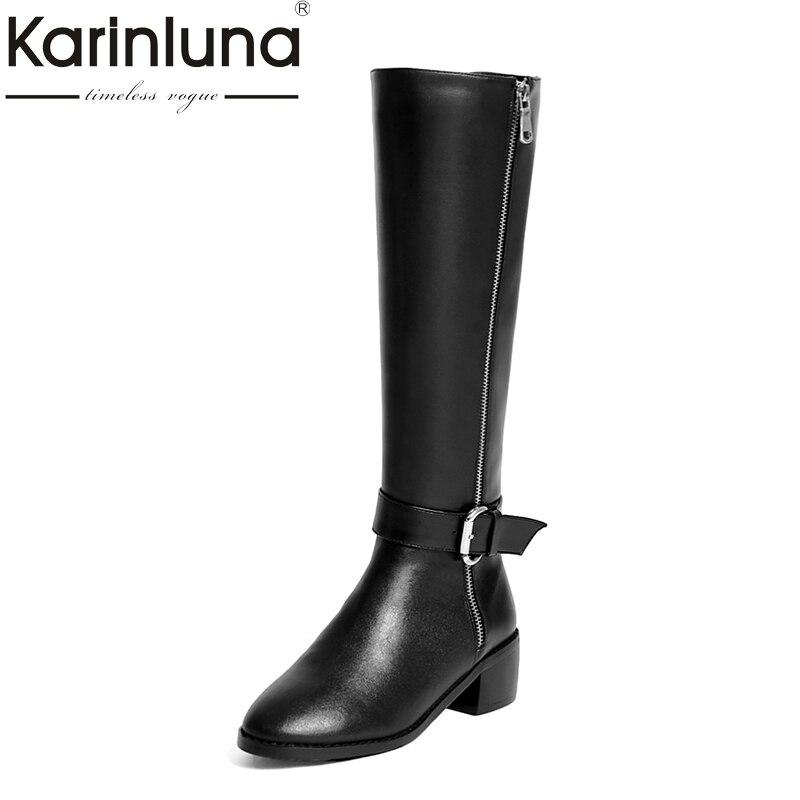 Noir marron Qualité Talons 2018 En Chaussures Marque Femmes Bottes Véritable Top Femme Haute Cuir Genou Karinluna Carrés D'équitation ZOwP0kN8nX