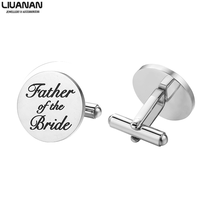 Mens Wedding Cufflinks Father Of The Bride Groom Gifts Stainless Steel Wedding Engagement Jewelry Dad Papa 6 Different Engraving