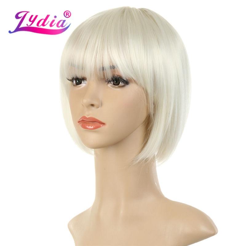Lydia för kvinnor syntetiska peruker korta Bobo peruk 10 tums ren färg # 613 rak bang 100% kanekalon afrikansk amerikan peruk