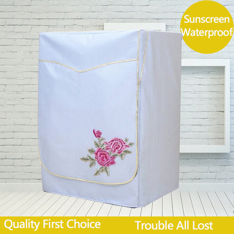 Embroidery Cover For Washing Machine Cover Beige Color Waterproof and Sun-proof Drum Machine Home Protective Cover