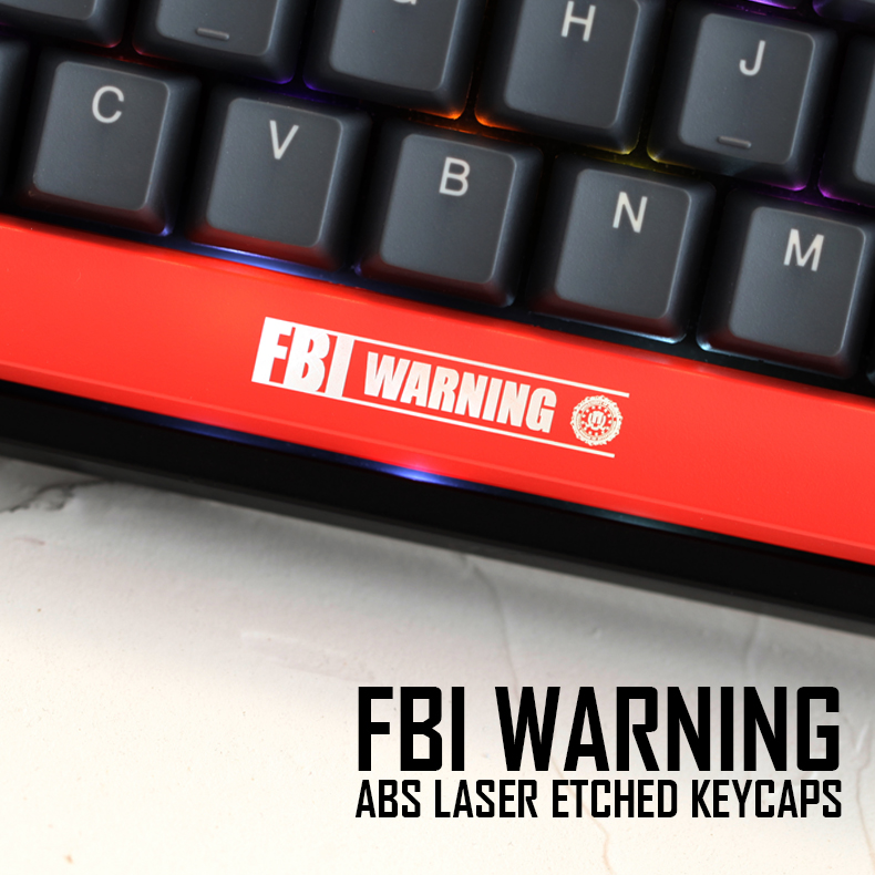 Mechanical-Keyboards Shine-Through-Keycaps Novelty Black Warning Spacebar Custom ABS
