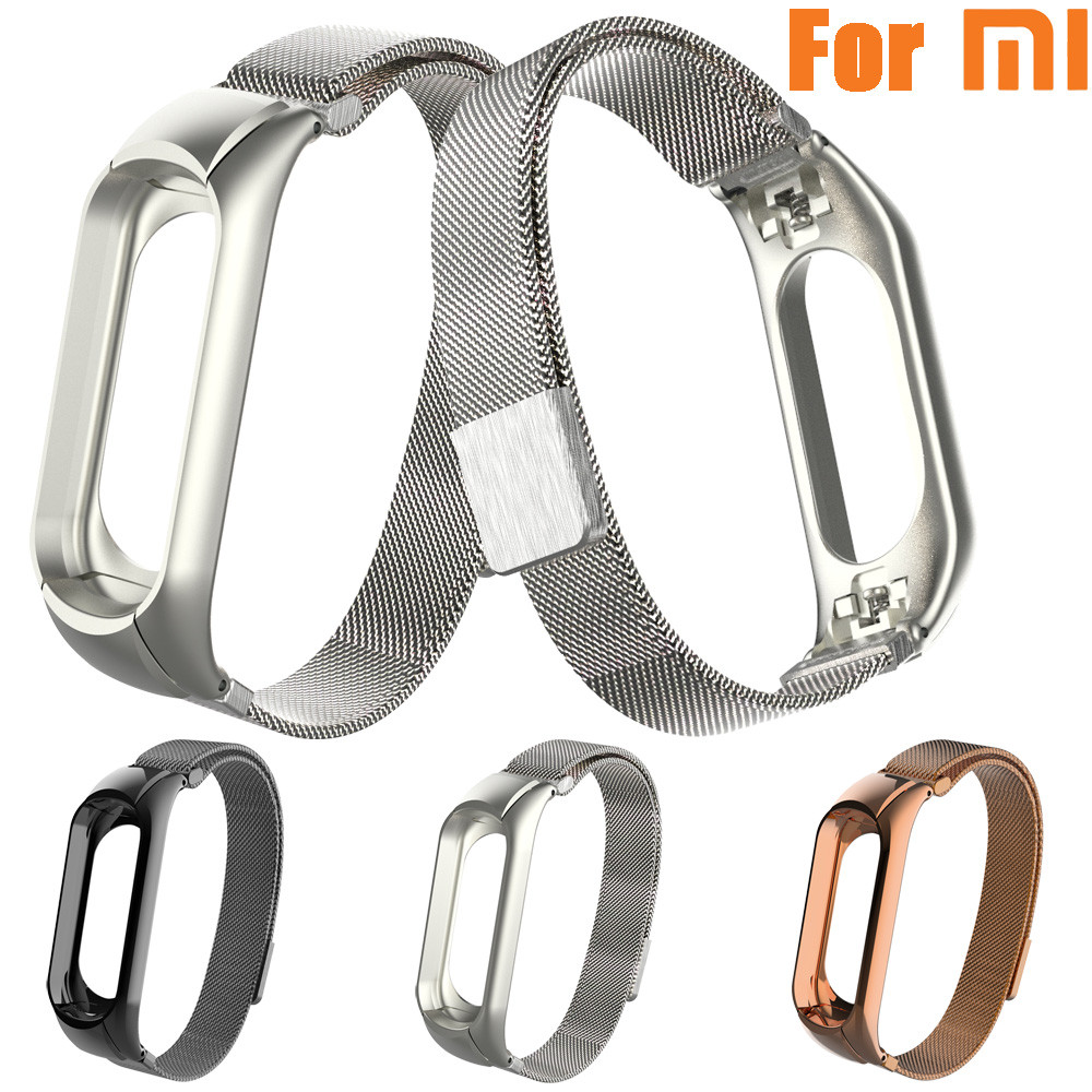 Newest watchband Strap Milanese Magnetic Loop Stainless Steel Wrist Strap Watch Bands Strap Bracelet for xiaomi mi band 3 все цены