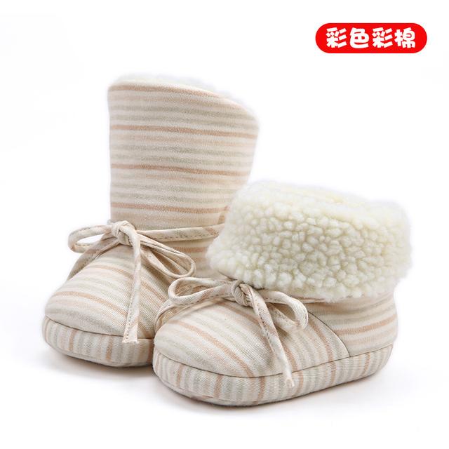 0-6 meses de idade do bebê 1 anos de idade meninos e meninas de inverno e inverno espessamento quente sapatos de bebê sapatos fundo macio sapatos de algodão da criança