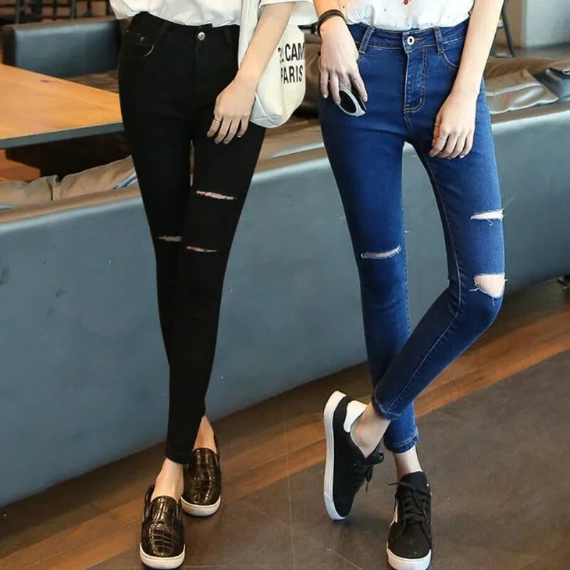 Spring New Denim Jeans Women Jeans Korean Hole Jeans Female High Waist Elastic Tight-fitting Pencil Pants image