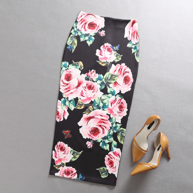 8f744963ac54 Women Print Flowers Pencil Skirt High Waist H type Chinese style Skirt
