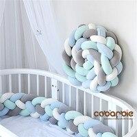 360 см длина, увеличивающая рост, Детские плетеные бортики для кроватки, 4 полосы, узел, длинная подушка, детские подушки, детская кроватка