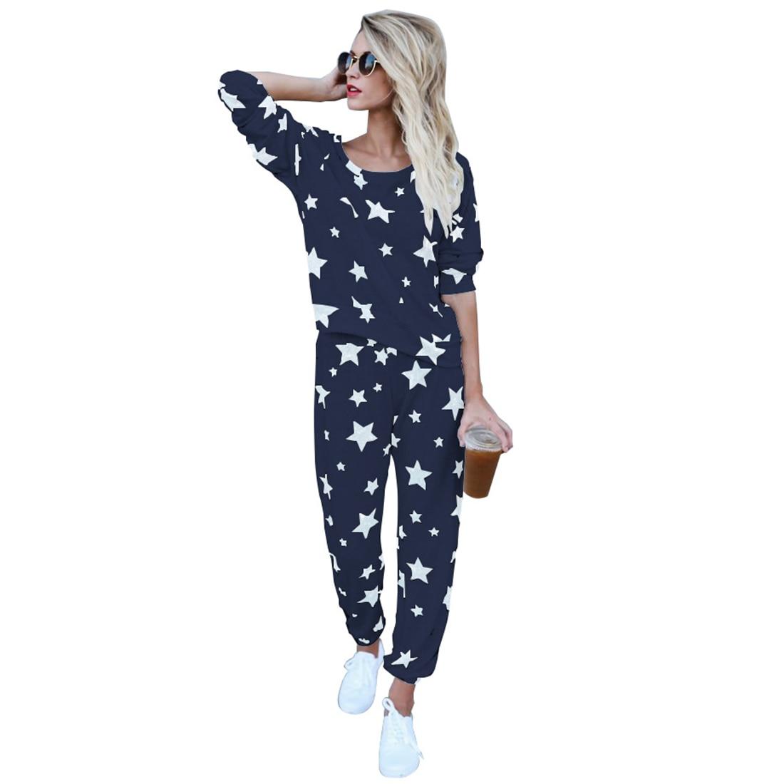 Women Long Sleeve Stars Printed Two Piece Set Ladies 2017 Autumn Tops And Pants Tracksuit Hoodies Sweatshirts Elastic Waist Suit
