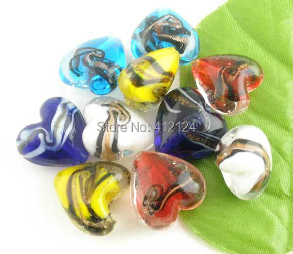 50Pcs Wholesales Mixed Glass Lampwork Dichroic Heart Spacer Beads Valentine Component 20x20mm
