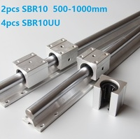2pcs SBR10 500mm/600mm/700mm/800mm/900mm/1000mm support rail linear guide with 4pcs SBR10UU linear bearing blocks for cnc router