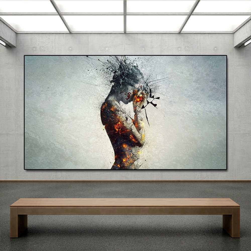 AAHH Body Explosion Headache Fire Wall Art Picture Canvas Painting Posters Print Wall Picture Decor for Living Room No Frame