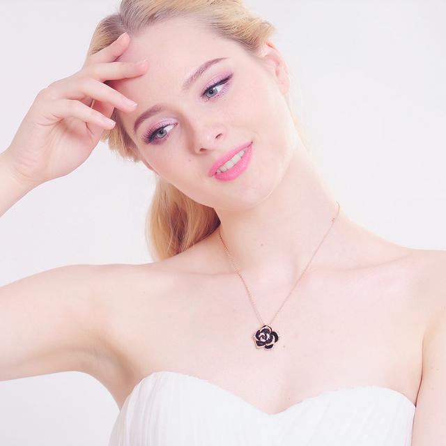 Black Enamel Rose Flower Necklace