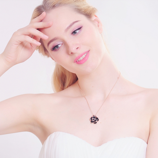 Gold Plated Black Enamel Rose Flower Pendant Necklace with Austrian Crystals
