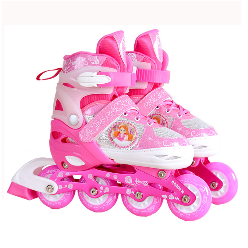 Full Flashing Wheels <font><b>Roller</b></font> Skate Shoes Protective Suit For Kids Inline Daily Street Brush Skating Unisex Adjust Free Ship IA13