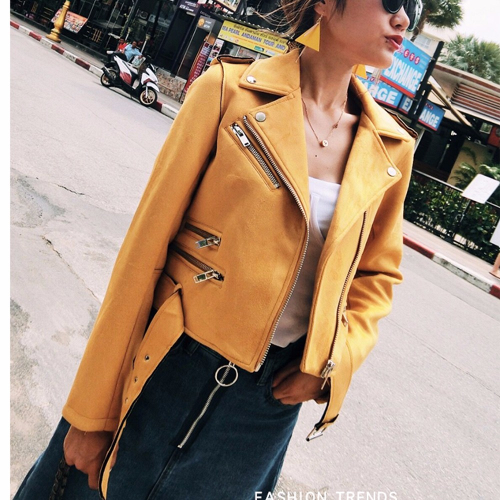 2019 New Autumn Winter Women Soft Suede Faux Leather Jackets and Coats Lady Matte Cute Zippers Belt Yellow Pink Black Outerwear