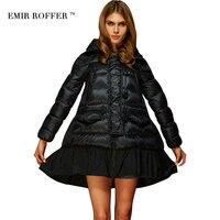 EMIR ROFFER Moda Gevşek Bir Çizgi Etek Kapşonlu Cloaks Coat Kadın Kış kadın Aşağı Ceket Parka Büyük Boyutu Camperas dış giyim