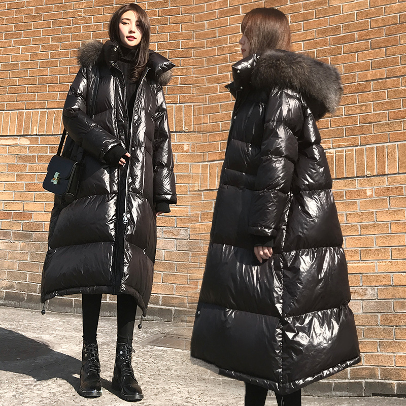 2019 winter women   down     coat   fashion brand with big fur collar hooded warm   down   jacket female longer   coat   free shipping