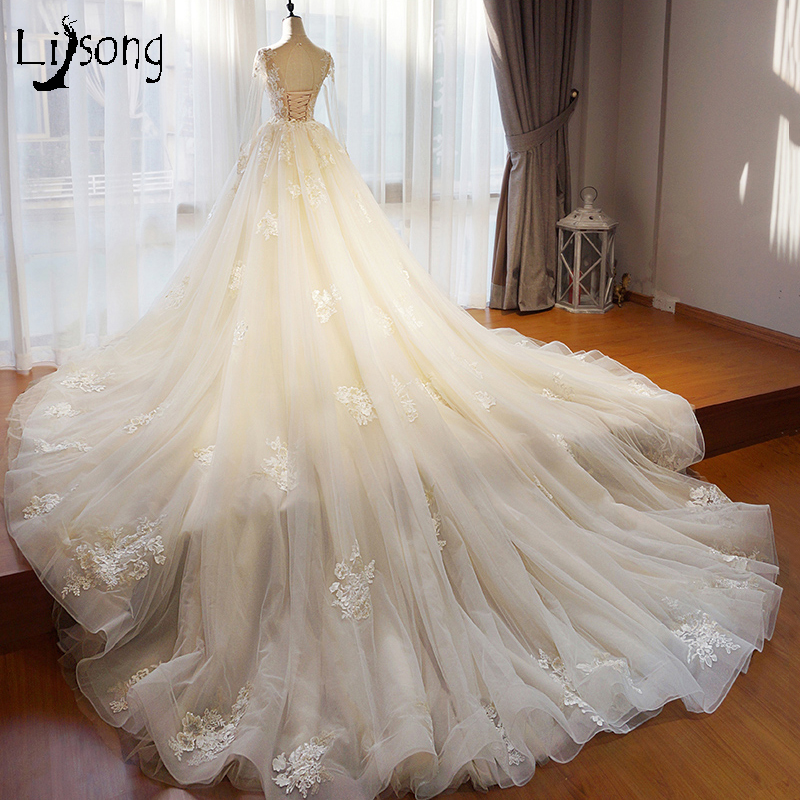 Bridal Dress With Detachable Train: Aliexpress.com : Buy Vintage Beige Lace Wedding Dresses