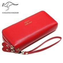 Kangourou royaume de luxe en cuir véritable femmes portefeuilles longue double fermeture éclair dame pochette sac à main marque sac à main pour