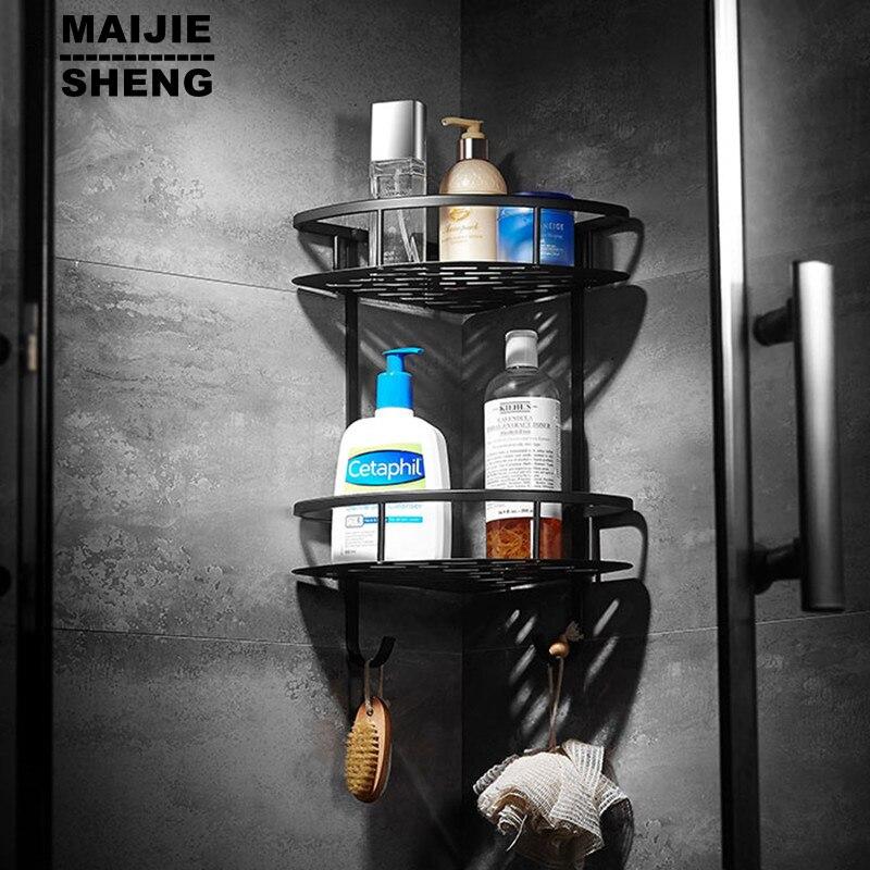 Bagno mensola in ottone nero doppio strato bagno mensola angolare bagno holder showe camera accessori cestino del bagnoBagno mensola in ottone nero doppio strato bagno mensola angolare bagno holder showe camera accessori cestino del bagno