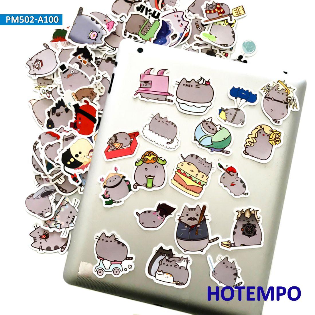 100pcs Cartoon Fat Cat Emoji Cute Stickers For Kids DIY Mobile Phone Laptop Luggage Guitar Case Skateboard Bike Decal Stickers