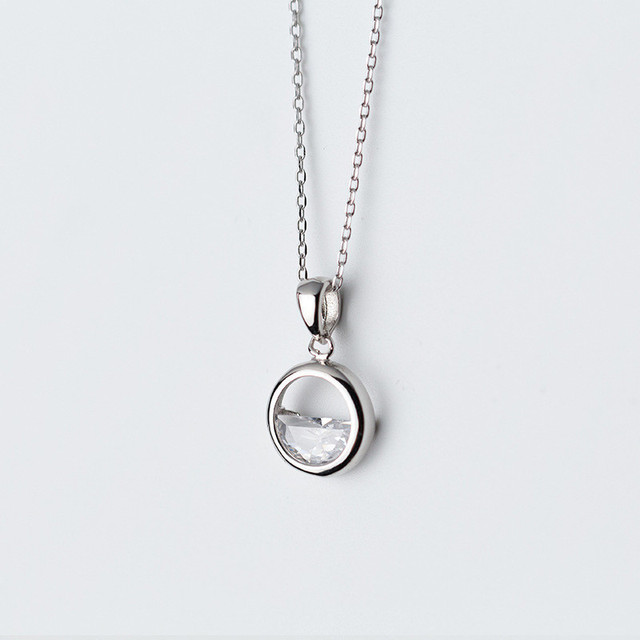Real 925 Sterling Silver Round Crystal Water Spring Pendant Necklace