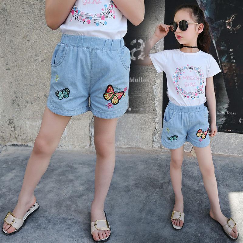 Girls Butterfly Denim Shorts Teenage Short Jeans Pants Capris Summer Clothing For Girls Short Pants For Kids Butter-Fly Shorts 1