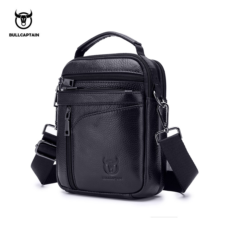 BULLCAPTAIN 2018 New Men Bag Genuine Leather Man Brand Crossbody Shoulder Bag Small Business Bags Male Messenger Leather Bags