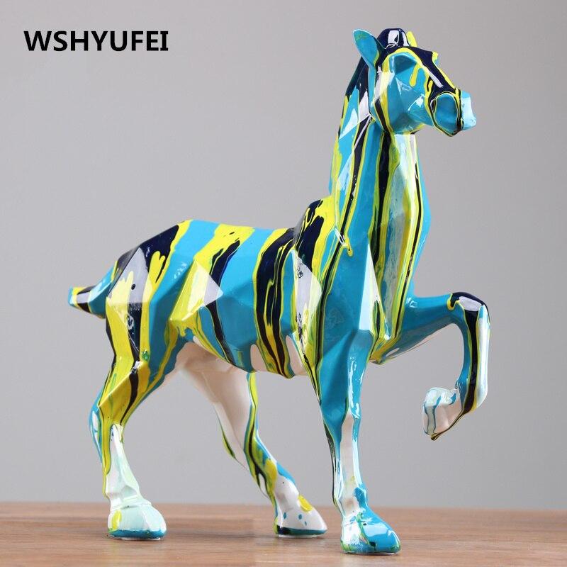 Современная Абстрактная Черная лошадь, скульптура, Геометрическая Смола, леопард, статуя, дикая природа, Декор, подарок, ремесло, украшение,